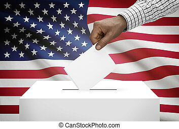 Ballot box with national flag on background - United States...