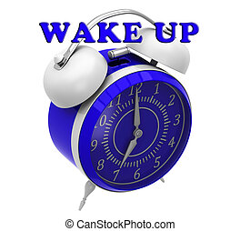 Alarm clock with inscription wake up on a white background