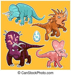 Triceratops Rhino Dinosaurs Sticker - Illustration of...