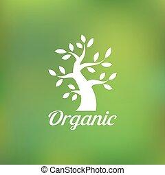 Organic green tree logo, eco emblem, ecology natural symbol,...