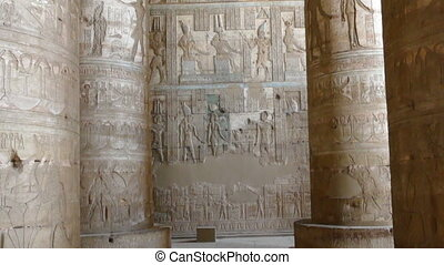 Interior of Ancient Egyptian Dendera Temple - Interior of...