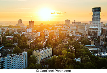 Amazing Kyiv - Kyiv city, Ukraine, in the morning, aerial...