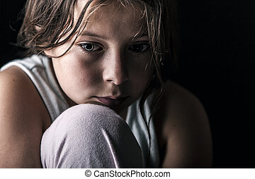 Sad Child - Powerful Shot of Sad Child