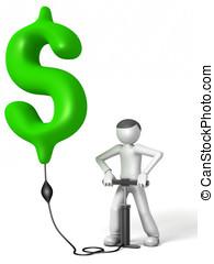 3D man pumping a dollar sign
