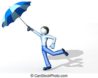 3D man with umbrella