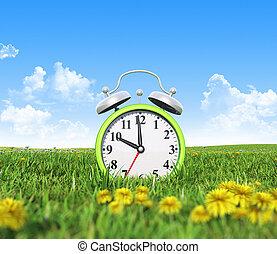 Alarm clock on the green grass field