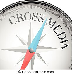 Cross Media - detailed illustration of a compass with cross...