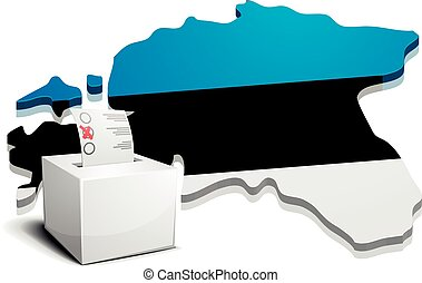 ballotbox Estonia - detailed illustration of a ballotbox in...