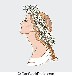 Portrait of pretty young woman in profile view Vector...