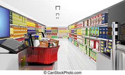Supermarket interior with cash machine and groceries