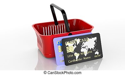 Shopping hand basket with two credit cards isolated on white...