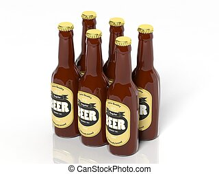 3D six pack collection of beer glass bottles isolated on white