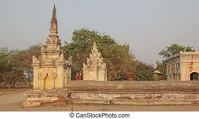 Ancient white pagoda in Bagan - Ancient white temple in...