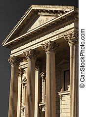 Old Building with Corinthian Pillars taken in Portrait. This...