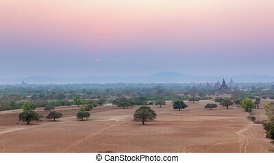 Sunset in Bagan, Burma - Sunset in Bagan from top of the...