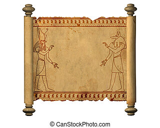 Anubis and Horus - Scroll with Egyptian gods images - Anubis...