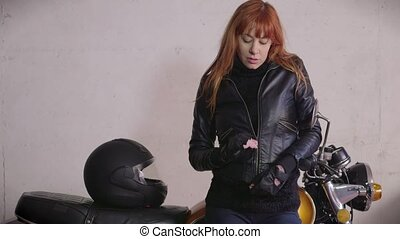 Biker Girl Woman Motorcycle Bike - Young woman with leather...