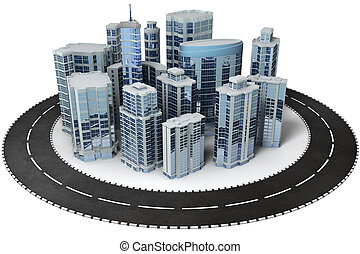 Office buildings surrounded with road