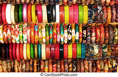 wood bangle background in asian shop