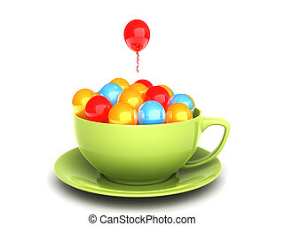Party concept - Coffee cup full of balloons