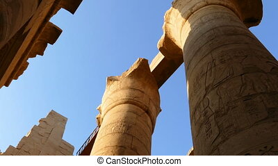 top of columns in karnak temple with ancient egypt...