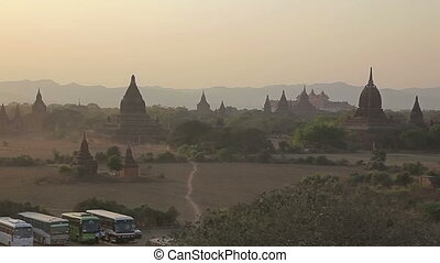 Sunset in Bagan, BurmaMyanmar Irrawaddy River in the...