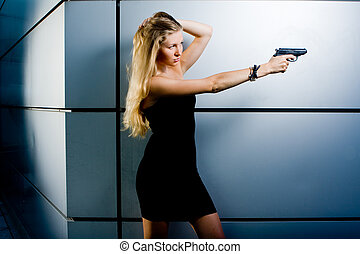 Sexy secret agent - Sexy blonde woman as a secret agent spy...