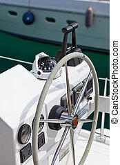 Navegación, Yate, control, rueda, y, herramienta,