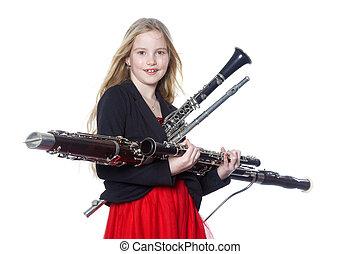 年輕, 女孩, 握住, 木管樂器, 儀器, 在,...