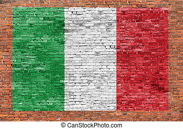 Flag of Italy painted over brick wall - Flag of Italy...