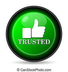 Trusted icon Internet button on white background