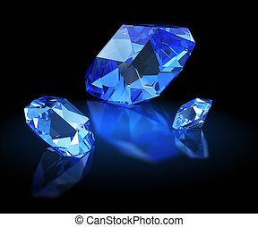 Three sapphires. Mazarin facet