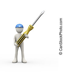 3d person in blue helmet holding screwdriver