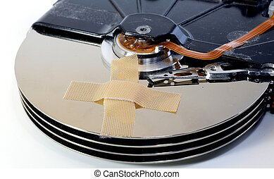 broken hard drives with a band-aid