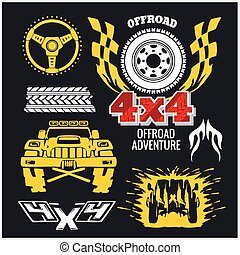 Off-road elements and emblem - vector set