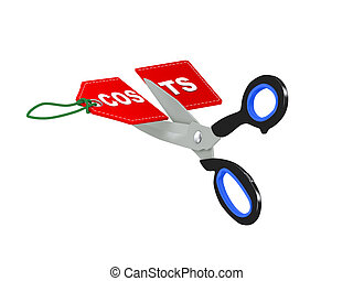 3d scissor cutting costs tag - 3d illustration of scissor...