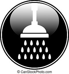 Shower icon. - Shower icon on white background. Vector...