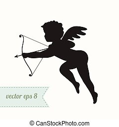 Cupid silhouette with bow and arrow