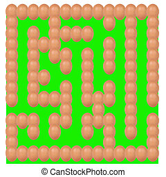eggs setting Maze or labyrinth green base isolated on white...