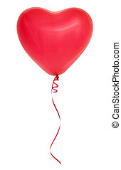Red heart shaped balloon - Red heart-shaped balloon isolated...