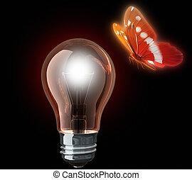 蝴蝶, 光, 燈泡