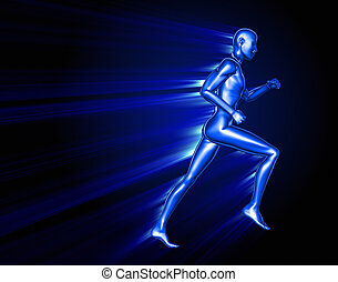 Running 3D man passing through an obstacle