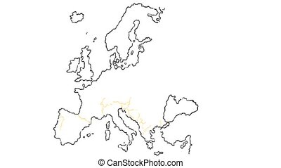 europe country map hand draw