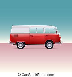 Classic camper van, side view. Vintage  illustration