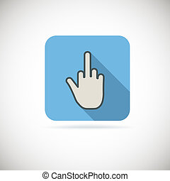 Flat finger up icon, gesture hand
