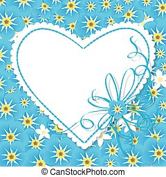 Forget me not card - Paper label in shape of heart with blue...
