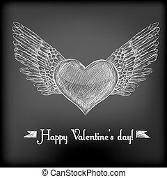 Hand - drawn heart with bird wings and Happy Valentine's day...