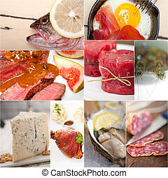 high protein food collection collage nested on white frame