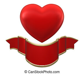 Red heart with ribbon isolated on white