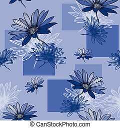 Seamless blue background with Camomile, hand-drawing. Vector ill